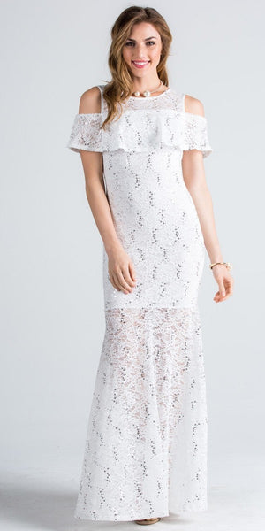 Lace Cold Shoulder Mermaid Style Long Formal Dress White