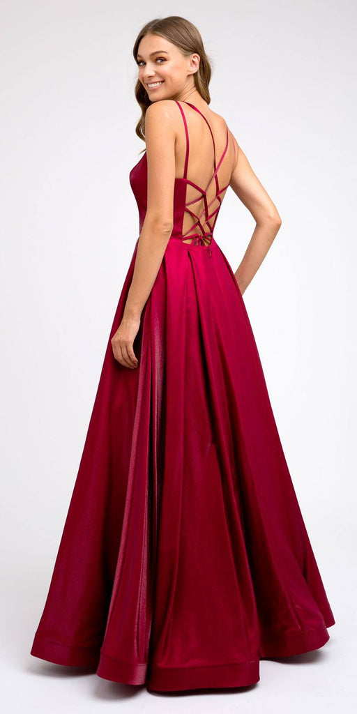 Strappy-Back Burgundy Long Prom Dress with Pockets