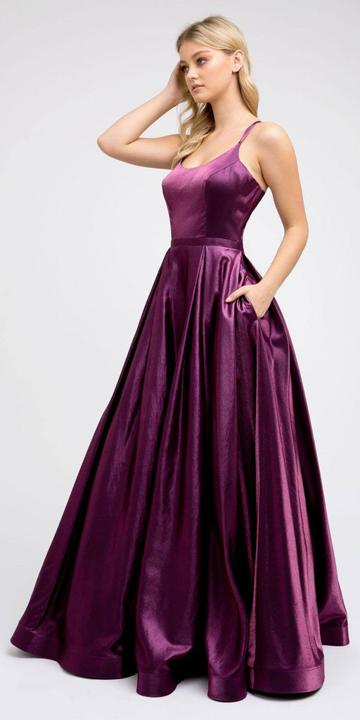 Strappy-Back Deep Purple Long Prom Dress with Pockets