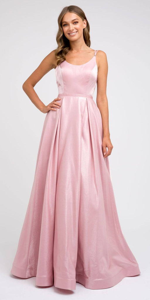 Strappy-Back Mauve Long Prom Dress with Pockets