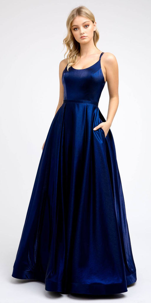 Strappy-Back Navy Blue Long Prom Dress with Pockets