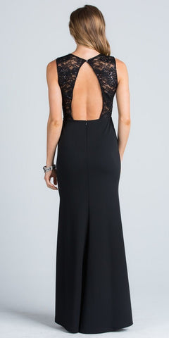 Black Column Evening Gown Cut Out Back Embellished Neckline
