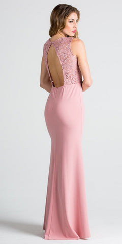 Blush Column Evening Gown Cut Out Back Embellished Neckline