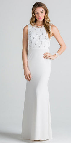 White Column Evening Gown Cut Out Back Embellished Neckline