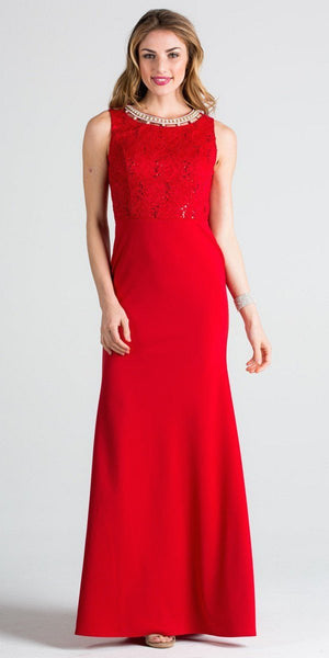 Red Column Evening Gown Cut Out Back Embellished Neckline