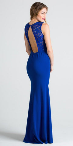 Royal Blue Column Evening Gown Cut Out Back Embellished Neckline