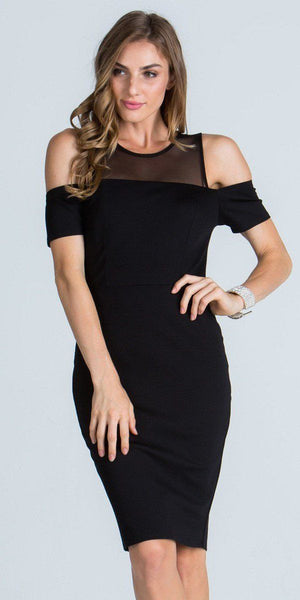 Illusion Cold Shoulder Knee Length Sheath Cocktail Dress Black