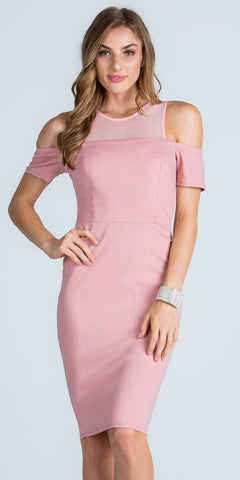 Illusion Cold Shoulder Knee Length Sheath Cocktail Dress Blush