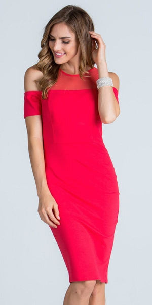 Illusion Cold Shoulder Knee Length Sheath Cocktail Dress Coral