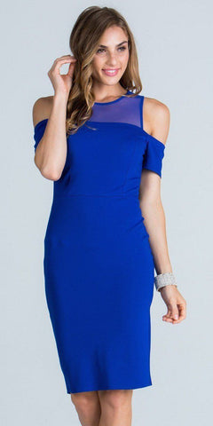 Illusion Cold Shoulder Knee Length Sheath Cocktail Dress Royal Blue