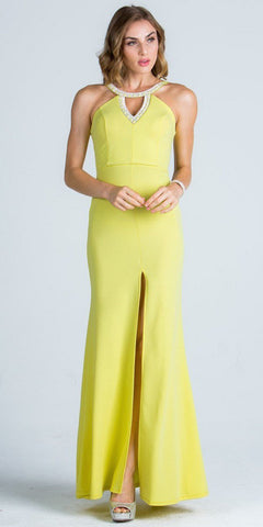 Long Party Dress Embellished Neckline with Keyhole and Slit Yellow