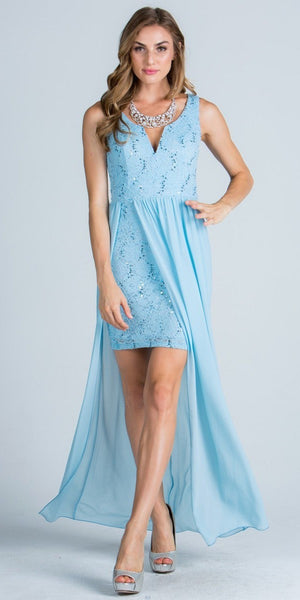 Blue Plunging V-Neck High and Low Semi Formal Dress