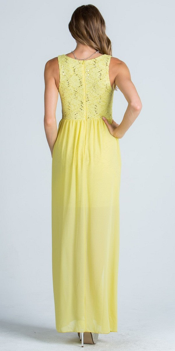 Yellow Plunging V Neck High And Low Semi Formal Dress
