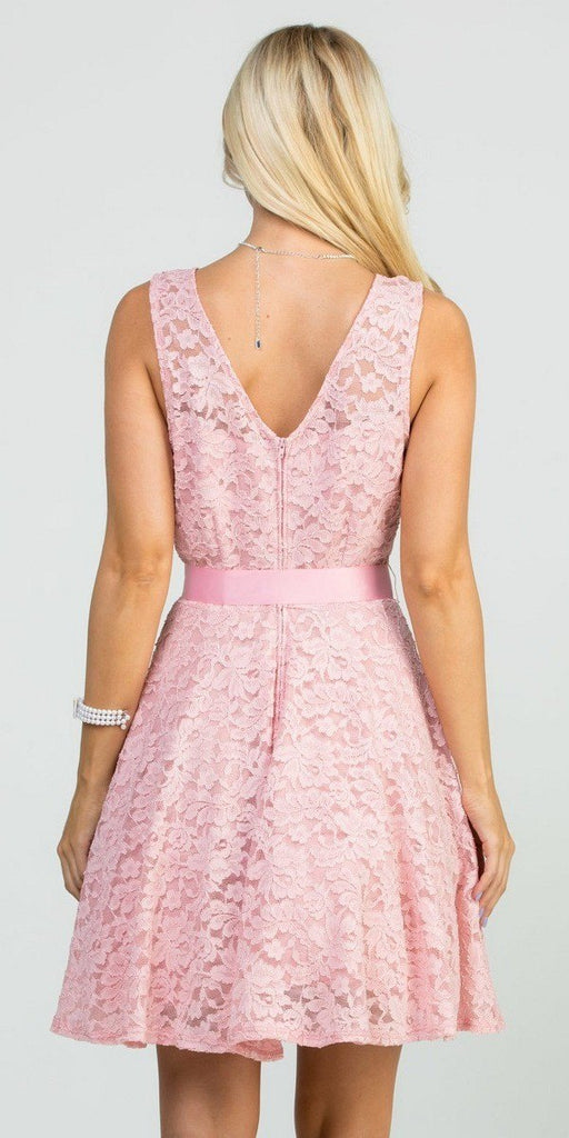 Blush Sleeveless Short Cocktail Dress with Satin Bow