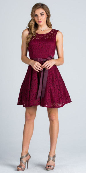 Burgundy Sleeveless Short Cocktail Dress with Satin Bow