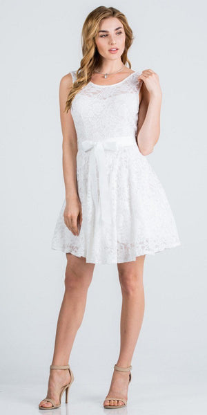 Ivory Sleeveless Short Cocktail Dress with Satin Bow