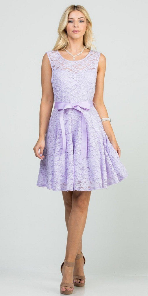 Lilac Sleeveless Short Cocktail Dress with Satin Bow