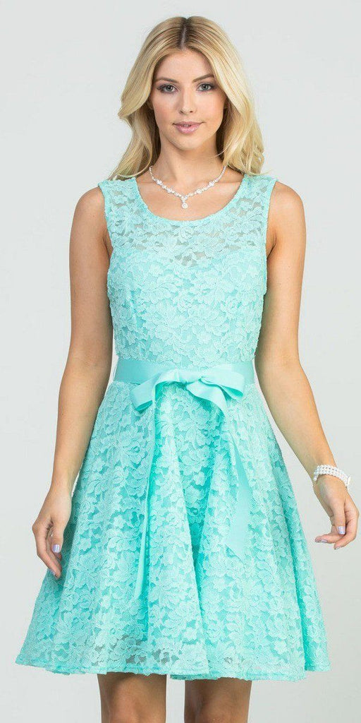 Mint Sleeveless Short Cocktail Dress with Satin Bow