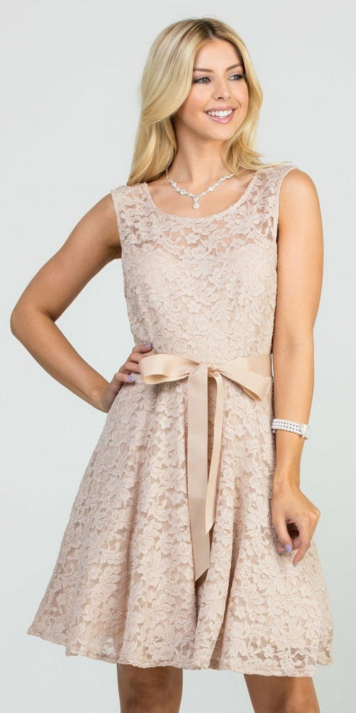 Taupe Sleeveless Short Cocktail Dress with Satin Bow