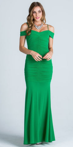Off Shoulder with Strap Ruched Mermaid Style Green Evening Gown