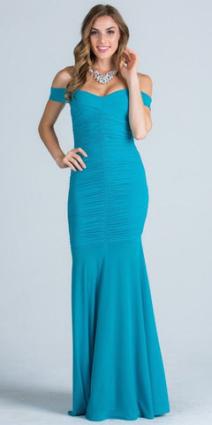 Off Shoulder with Strap Ruched Mermaid Style Turquoise Evening Gown