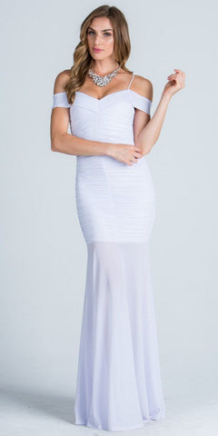 Off Shoulder with Strap Ruched Mermaid Style White Evening Gown