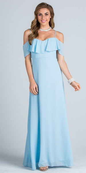 Ruffled Off Shoulder Long A-Line Bridesmaids Dress Blue
