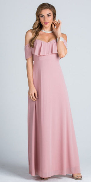 Ruffled Off Shoulder Long A-Line Bridesmaids Dress Blush