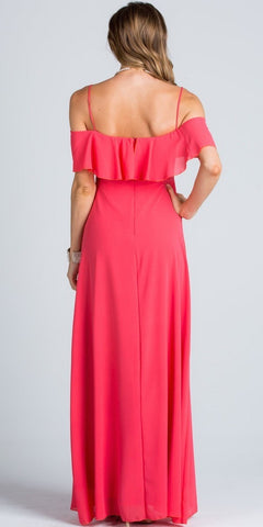 Ruffled Off Shoulder Long A-Line Bridesmaids Dress Coral