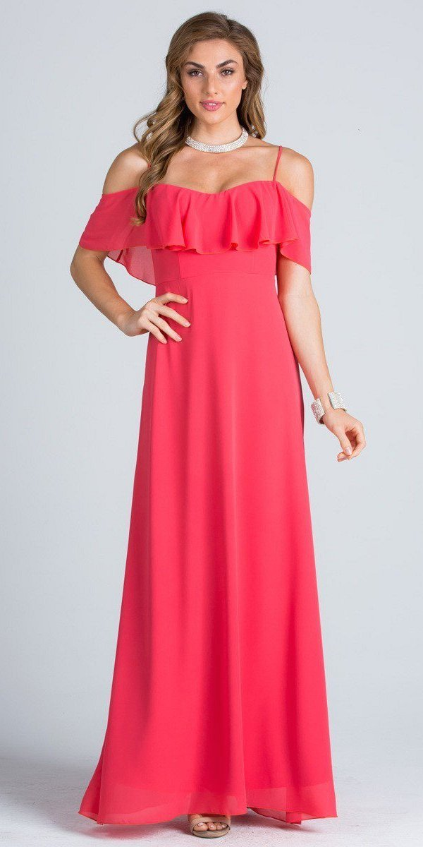 57337768e Ruffled Off Shoulder Long A-Line Bridesmaids Dress Coral. Tap to expand