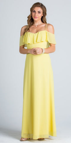 Ruffled Off Shoulder Long A-Line Bridesmaids Dress Yellow