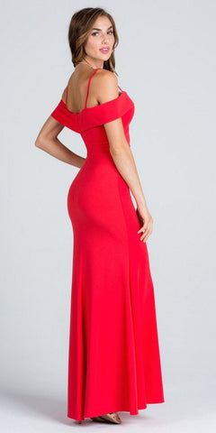 Coral Embellished Waist Off Shoulder Long Prom Dress