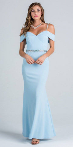 Silver Cold-Shoulder Long Formal Dress Ruched V-Neck