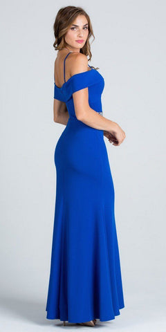 Royal Blue Embellished Waist Off Shoulder Long Prom Dress