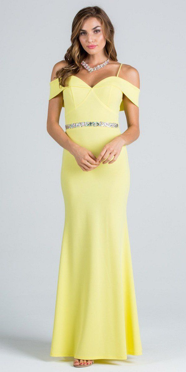 eee88cfff1bc Yellow Embellished Waist Off Shoulder Long Prom Dress ...