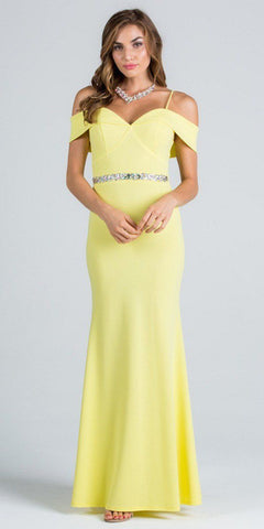 Yellow Embellished Waist Off Shoulder Long Prom Dress