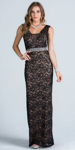 Embellished Waist Column Evening Gown Open Back Black Nude