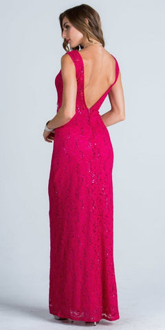 Embellished Waist Column Evening Gown Open Back Fuchsia