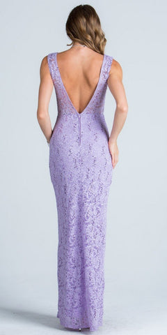 Embellished Waist Column Evening Gown Open Back Lilac