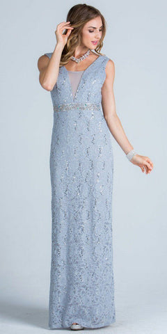 Embellished Waist Column Evening Gown Open Back Silver