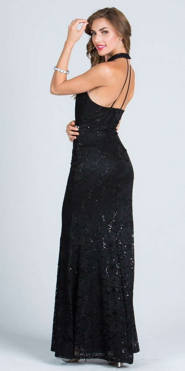 Silver Mermaid Evening Gown Beaded Waist Halter with Keyhole ...