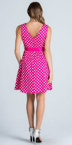 Scoop Neck Polka Dot Short Cocktail Dress with Ribbon Sash Belt Fuchsia