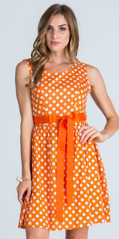 Scoop Neck Polka Dot Short Cocktail Dress with Ribbon Sash Belt Orange