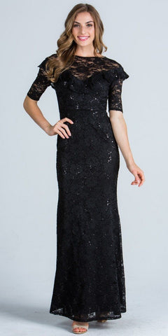 Black Illusion Ruffled Neckline Long Formal Dress Short Sleeves