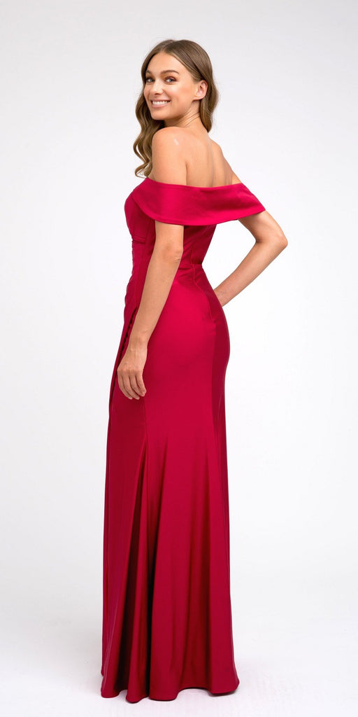 Off-Shoulder Fit and Flare Long Prom Dress Burgundy with Slit