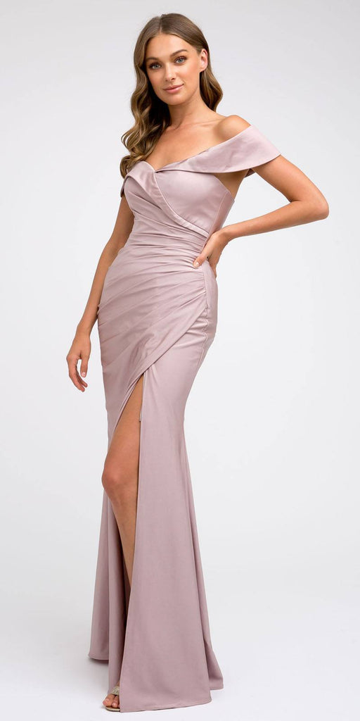 Off-Shoulder Fit and Flare Long Prom Dress Mauve with Slit
