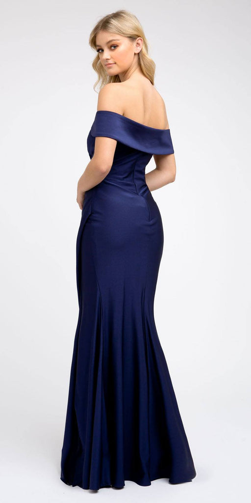 Off-Shoulder Fit and Flare Long Prom Dress Navy Blue with Slit