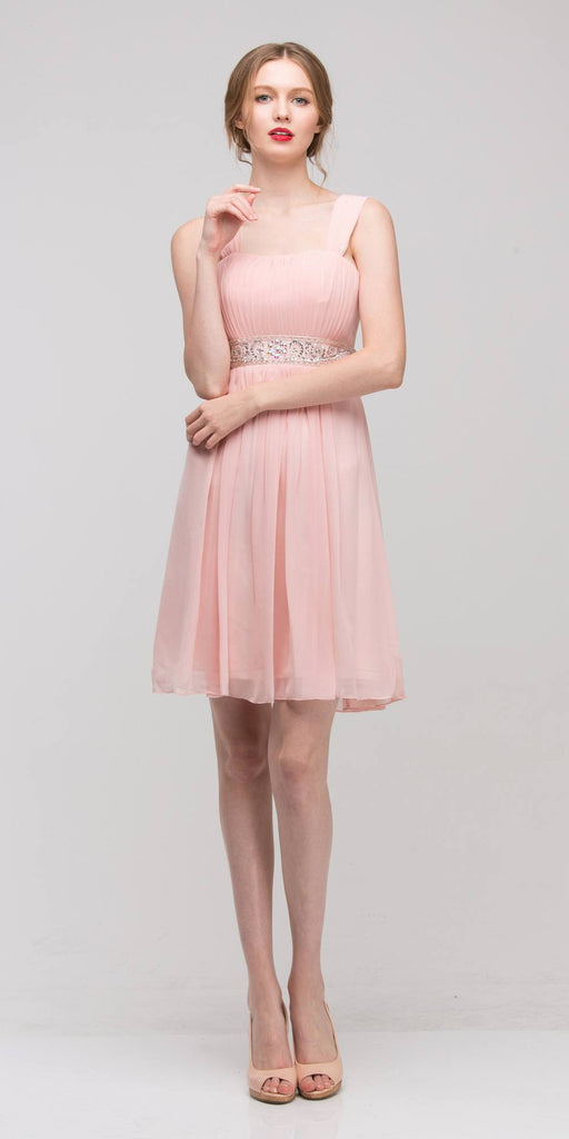 Multi-Chiffon Embellished Waist Short Bridesmaids Dress Dusty Pink - DiscountDressShop