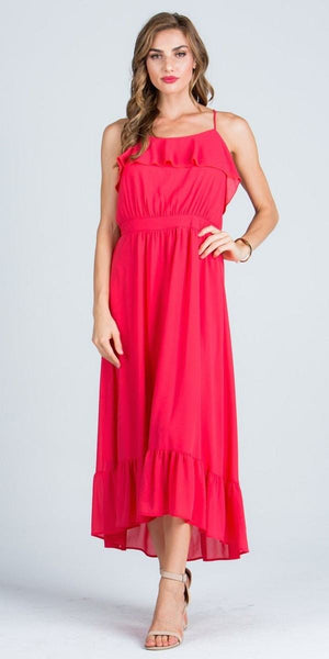 Ruffled Tea Length Party Dress Spaghetti Straps Coral