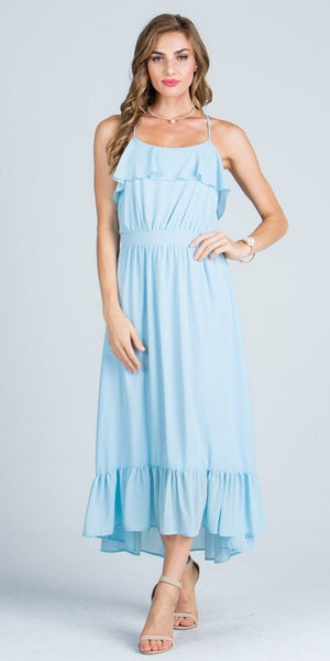 Ruffled Tea Length Party Dress Spaghetti Straps Light Blue